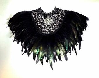 Steampunk lace bib collar Victorian black feather crystal cape Steampunk Gothic Burlesque shrug neckpiece