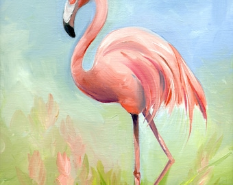 PINK FLAMINGO- Print on Canvas by Amy Hautman