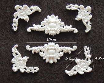 Resin embellishments Set of 6 ornate moldings Furniture appliques