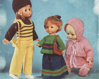 PDF Knitting Patterns, Knitted Dolls Clothes,12 inch doll, 16 inch doll, 18 inch doll,  Knitting Pattern, PDF, Digital Download