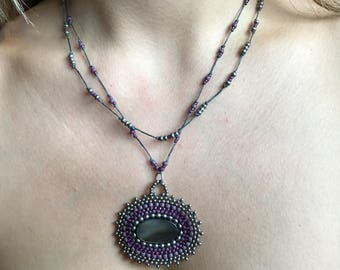 Mother of Pearl Necklace with Hand-Woven Pendant