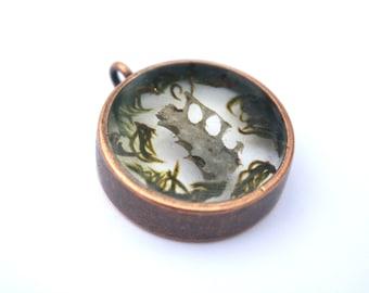 rib bones and moss circular copper nature pendant oddities and curiosities unique necklace