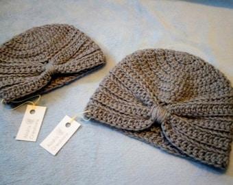Grey Crocheted Turban Baby Hat