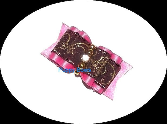 Puppy Bows ~Burgundy shocking pink gold  scrollwork show dog bow Shih Tzu rhinestone centers ~USA seller  (fb18)