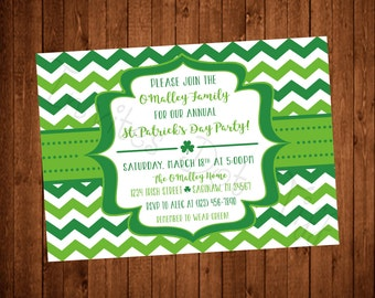 Simple, Fun Chevron Printable St. Patrick's Day Party Invitation