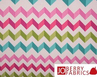 Pink, Aqua and Lime Fabric Print, Crinkle Stripe by Andover, Quilt or Craft Fabric, Fabric by the Yard