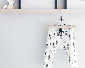 Pineapple organic baby leggings, baby leggings, baby pants, baby harems, toddler leggings, toddler harems, organic pants