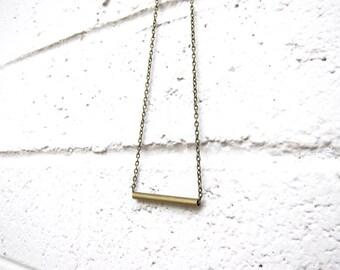 Antique Brass Tube Geometric Necklace Minimalist Layering Brass Chain