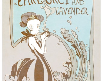 Earl Grey & Lavender - tea lover's poster - art nouveau illustration