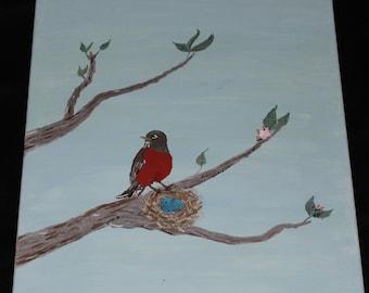 Spring Robin - Original Mixed Media Painting