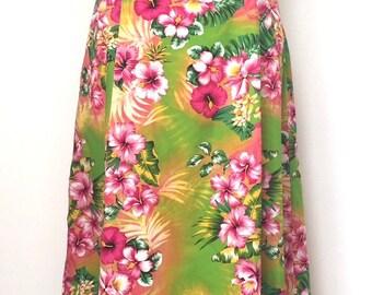 Homemade vintage tropical floral halter neck dress size 10