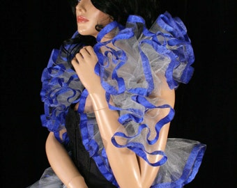 Tulle tie on shoulder shrug wrap silver and royal blue trimmed gothic formal wedding dance bridal -- Sisters of the Moon