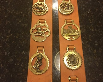 Vintage English Brass Horse Bridle Medallions, Horses, Leather Strap 7 Medallions, Dressage, Equestrian, Polo at A Vintage Revolution