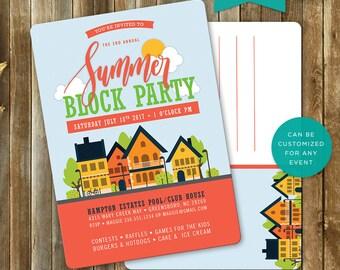 Summer, Block Party, Invitation, Invite, BBQ, Barbecue, Barbeque, Picnic, Printable, 5x7, 4x6