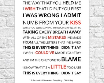 5 Seconds of Summer (5SOS) - Everything I Didn't Say - Lyrical Song Art Poster