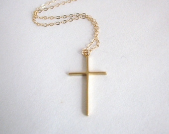 Dainty Gold Cross Necklace, Simple Gold Cross, Christian Necklace, Christian Gift, Baptism Gift, Religious Necklace, Faith Necklace, Cross