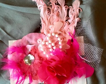 Adorable shades of pink girl flamingo fancy feather headband - infant, baby, child to adult