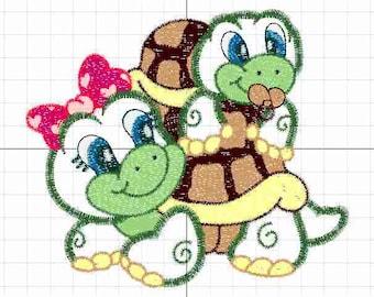 applique turtle mom and son