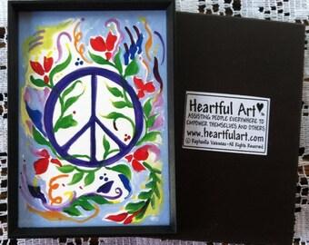 PEACE SIGN 1970s Hippie Inspirational Love Symbol Colorful Home Decor Spiritual Meditation College Dorm Heartful Art by Raphaella Vaisseau