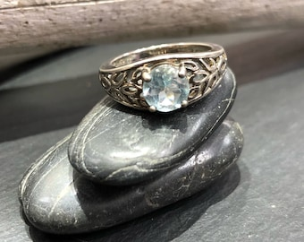 Sterling Silver and Blue Topaz Vintage Ring Size 6.75