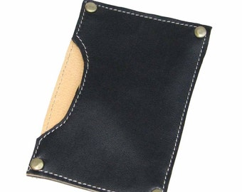 Free Shipping Black Lambsin Leather Card Case Handmade