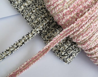 1m of Boucle chanel style textured frayed edge trimming, pink or black with velvet ribbon slotted through