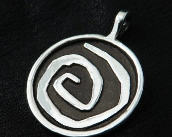 Silver Yellow Sign spiral pendant