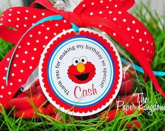 Elmo Hang Tags, Elmo Favor Tags, Personalized Elmo Gift Tags, Elmo Birthday Party - Set of 12