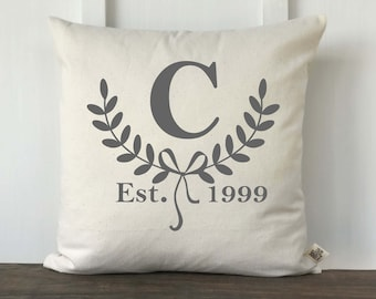 Farmhouse Pillow Cover, Personalized Pillow, Initial Pillow, Housewarming gift, Anniversary gift, Wedding gift, Couple Gift, Initial Laurel