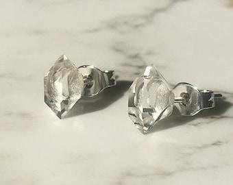 Herkimer Diamond Earrings, Herkimer Diamond Studs, Herkimer Earrings, Raw Herkimer, March Birthstone, Birthstone Earring, Birthstone Jewelry