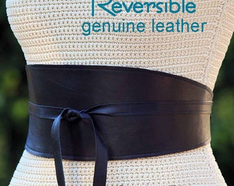 REVERSIBLE Black Leather Wide Obi Wrap Sash Belt - bonus reversible fabric print - XS S M L XL Petite & Plus Size - Cinch Sash Custom Made