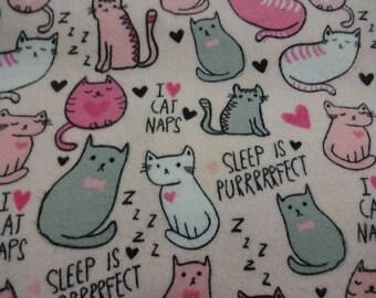 "Handmade Pillowcase Standard/Queen ""I LOVE CAT Naps"" Cotton Flannel Fabric, Gift, Birthday, Cat Lover"