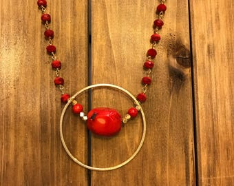 Red Quartz and Coral Necklace