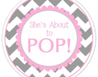 48 Baby Shower About to Pop labels, Gray and Hot Pink Chevron, About to Pop Stickers, Baby Shower Labels