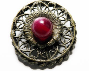 Metal Filigree Button Red Glass Stone Wrapped Wire Border