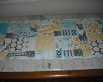 Beach-themed Ocean Summer table runner. Machine quilted.