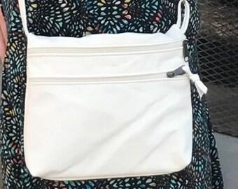 Cross body bag, travel bag, hip bag, Lg. Taylor style, minimalist purse, summer bag, cream leather