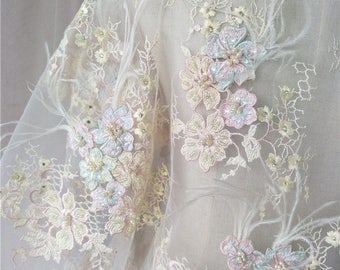 2018 Latest 3d flower embroidery lace fabric beaded lace tulle bridal lace fabic guipure french lace fabric for wedding dress
