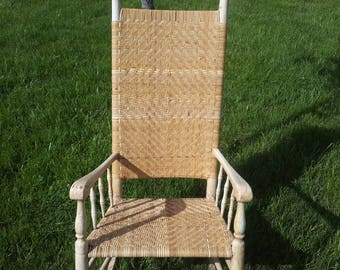Great old buttermilk painted rocker newly re-woven