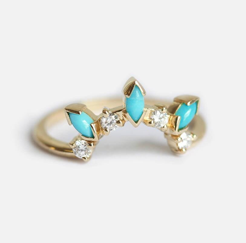 Turquoise Wedding Ring Turquoise Diamond Ring Turquoise