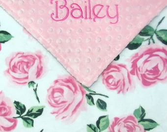 Roses Baby Blanket, Personalized Blush Floral Nursery Decor, Embroidered Name Gift for Newborn Baby Girls, Custom Monogrammed Present