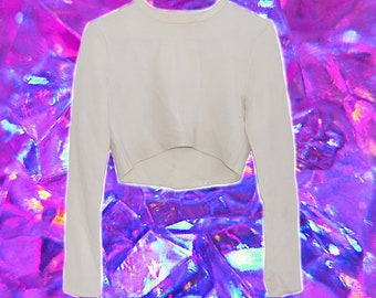 Vintage Cropped Long Sleeve Cream Knit Top