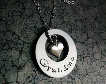 New Grandma Gift Mother's Day Gift For Grandma Necklace Gift for Grandma Washer Necklace