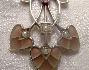 Pforzheim Germany Silver Plique-a-Jour Enamel Arts and Crafts Necklace 1900 1910