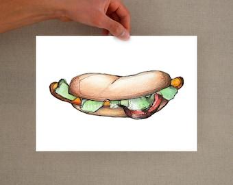 Hotdog art print, Food illustration, hotdog print, hotdog digital print, food art, watercolor print, hotdog art print, food wall art, print