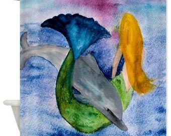 Dolphin and Mermaid Art Shower Curtain