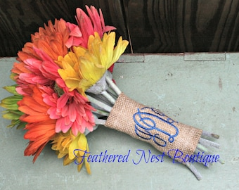 Monogram Bouquet Wrap - Monogrammed Bouquet Wrap - Monogram Burlap Bouquet - Southern Bouquet Wrap - Country Bouquet Wrap - Rustic Wrap