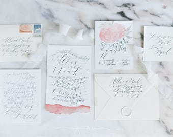 Custom Hand-Painted Wedding Invitation Suite with Hand-Lettered Calligraphy // Floral // Watercolor // Romantic