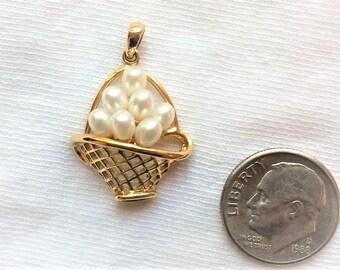 Vintage 10k Yellow Gold White Pearl Pendant Flower Basket 2.6g 3-D Necklace Estate Statement 10kt Marked 10 k kt Freshwater Vintage Large
