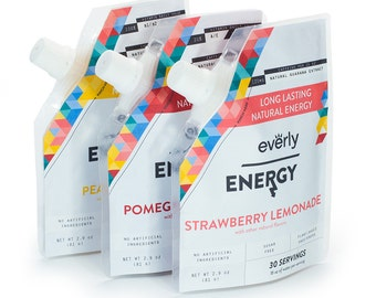 Everly Energy - Natural Powdered Drink Mix - 20 servings in Pouch - Sugar Free, Low Calorie